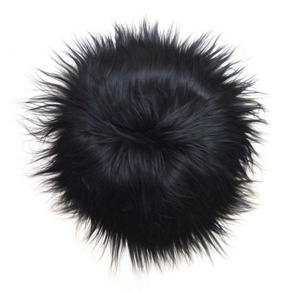 Stolsits fårskinn långhårigt svart