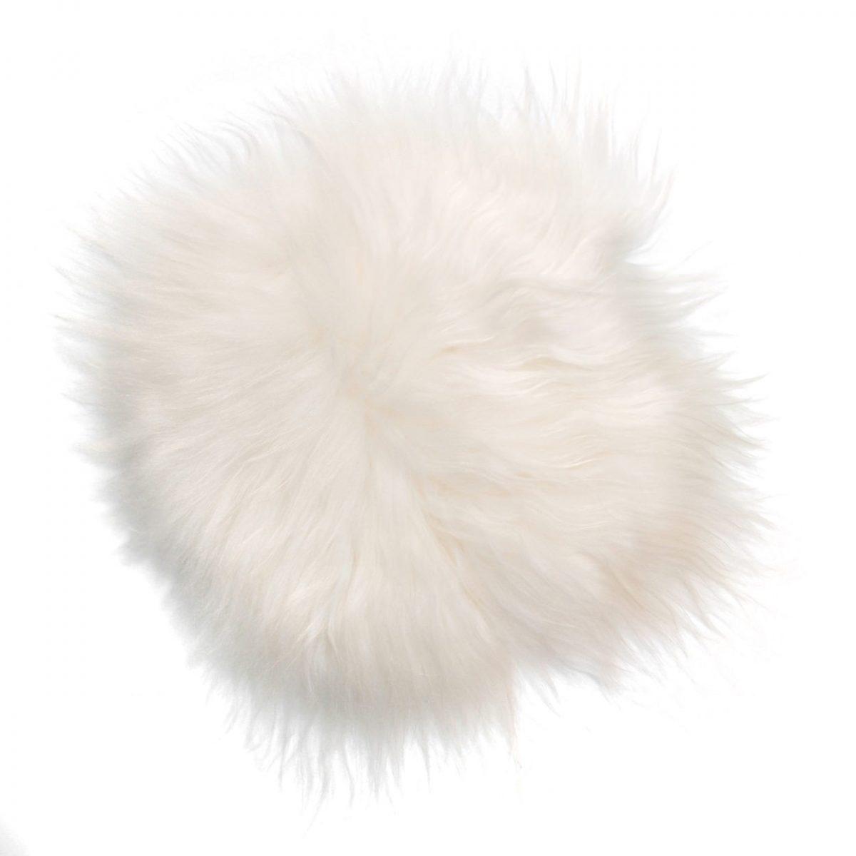 Stolsits fårskinn långhårigt svart vitt