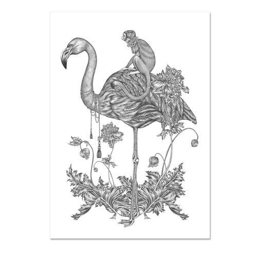 Poster Emma Fällman poster fågel flamingo Totem Monkey