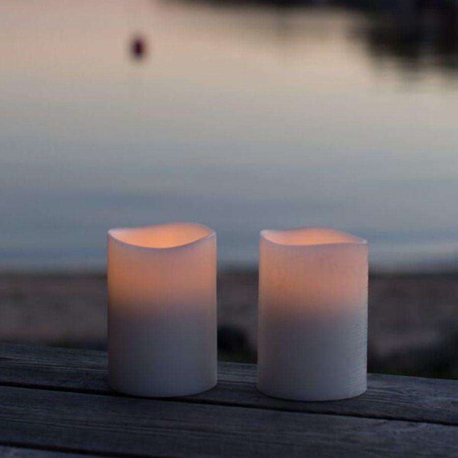 Enjoy Candles LED-ljus batteriljus vita ljusvax 8/10 cm