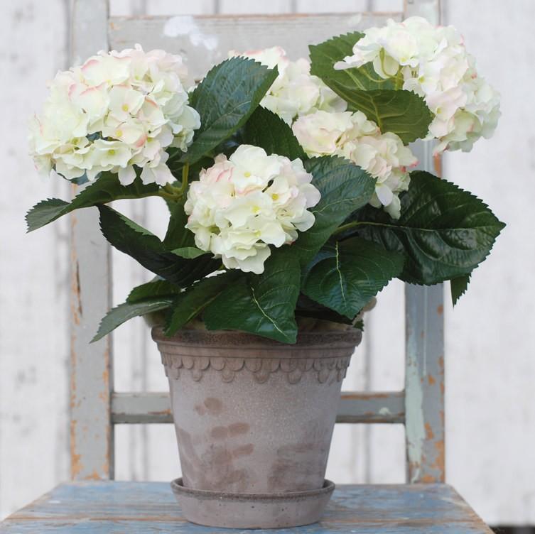 Konstgjord Hortensia cremefärgad