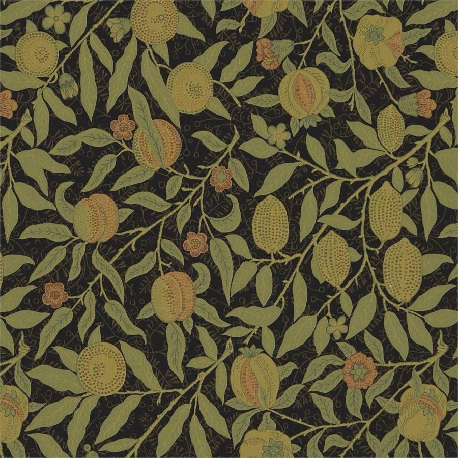 William Morris tyg Fruit Black / Claret