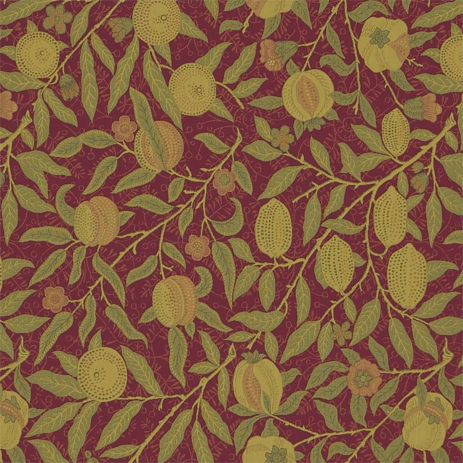 William Morris tyg Fruit Crimson / Thyme