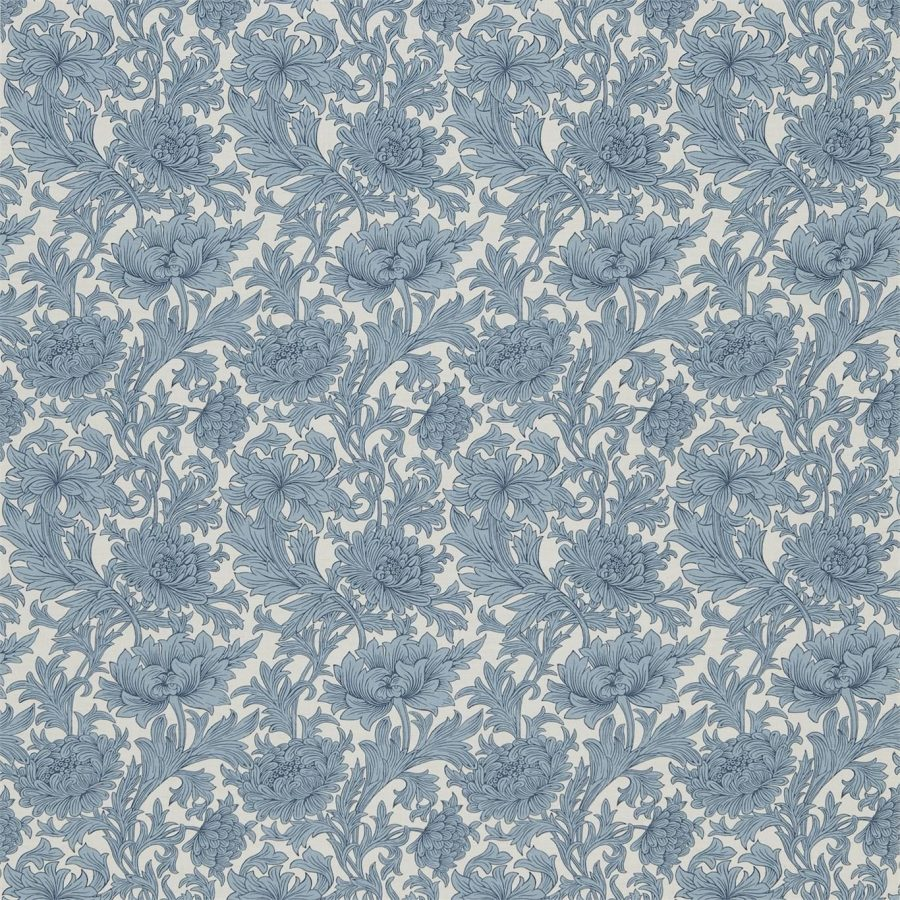 William Morris Tyg Chrysanthemum Woad / Chalk