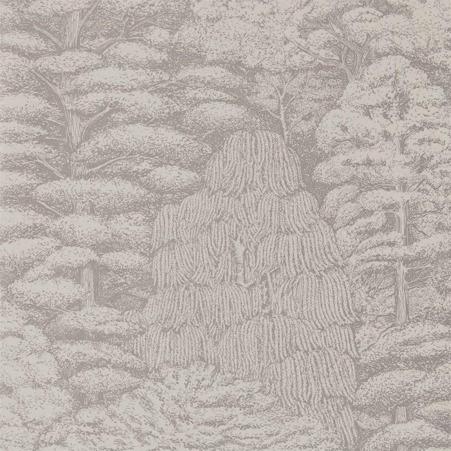 Sanderson Tapet Woodland Toilé Linen Gilver