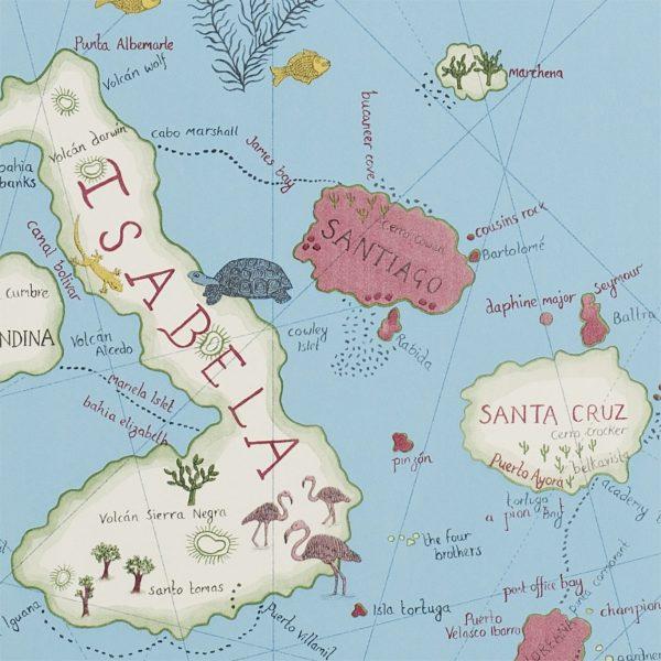 Sanderson Tapet Världskarta Galapagos azur
