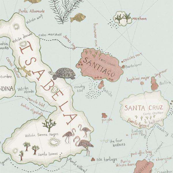 Sanderson Tapet Världskarta Ocean Blue