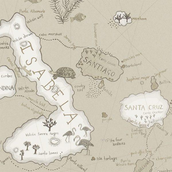 Sanderson Tapet Världskarta Galapagos