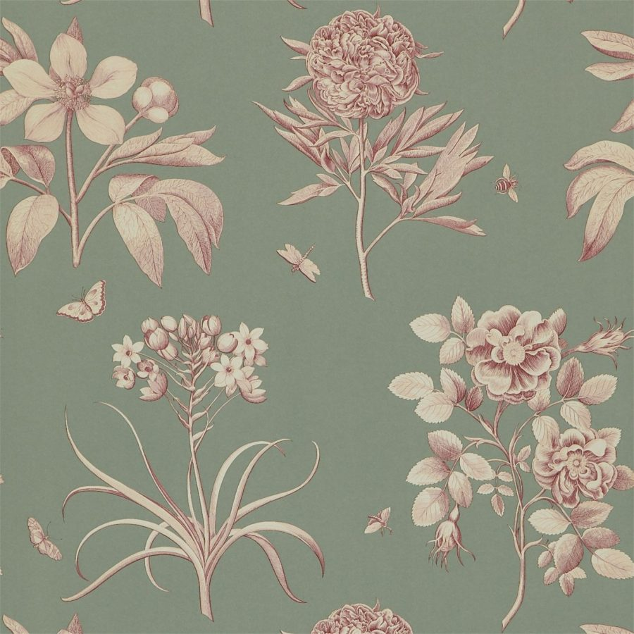 Sanderson tapet Etchings and Roses Pewter