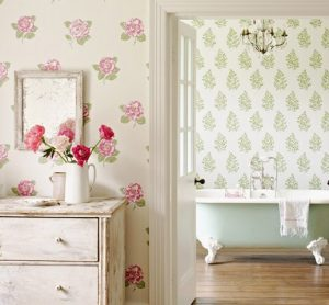 Sanderson blommig Tapet Lamorna Ivory Pink
