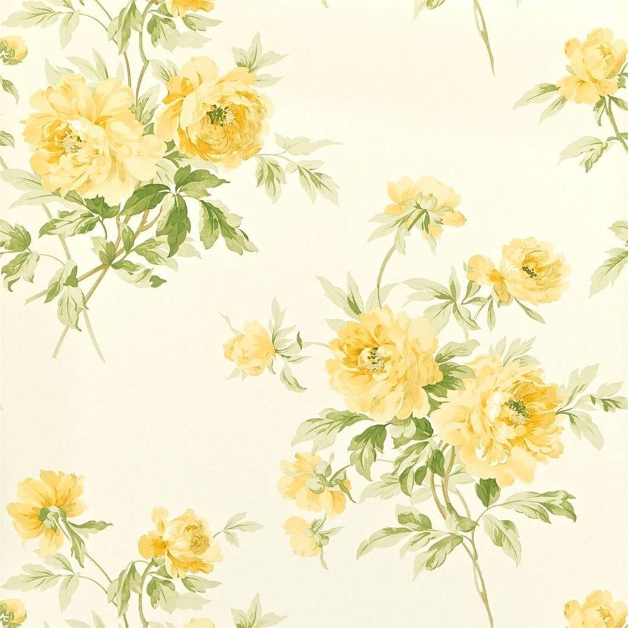 Sanderson blommig Tapet Adele Primrose Ivory