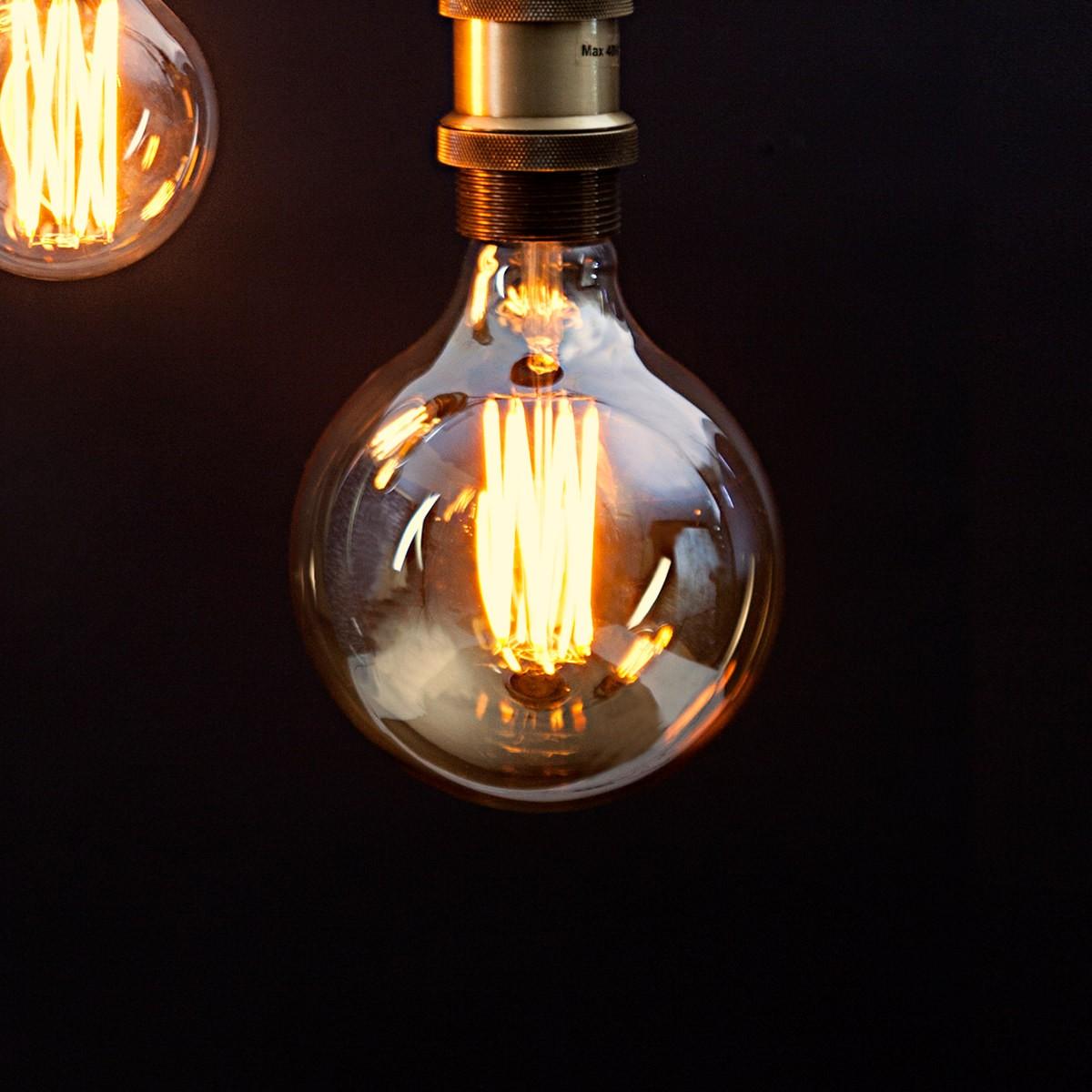 Glödlampa retro Gold 125 mm synliga glödtrådar dimbar