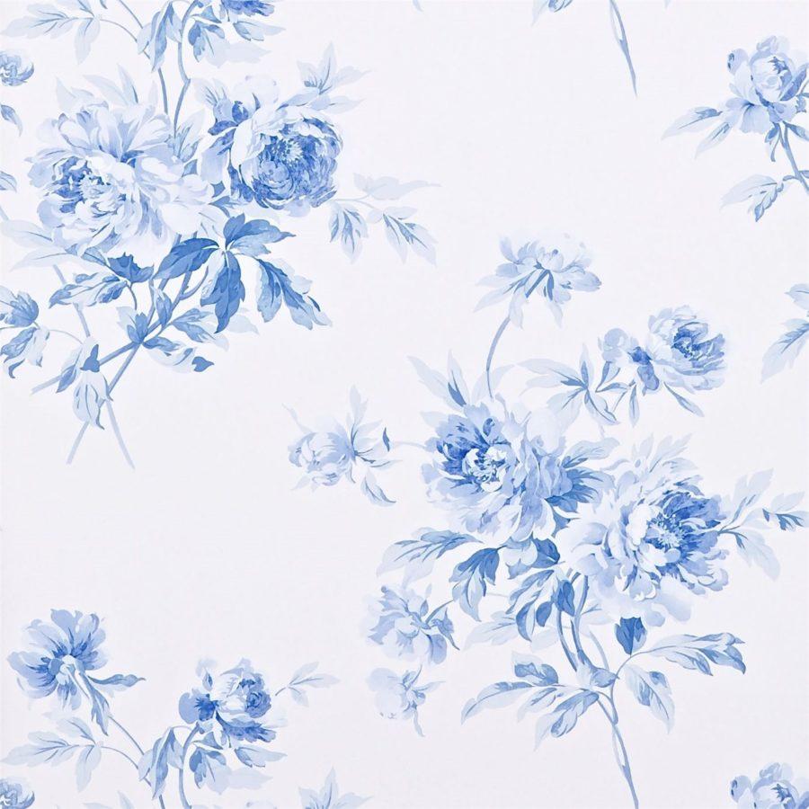 Sanderson blommig Tapet Adele Indigo Blue