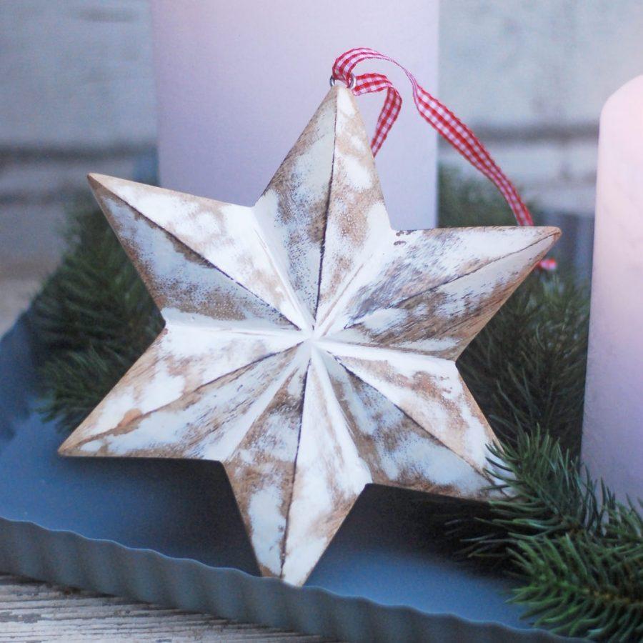 Stjärna trä juldekoration