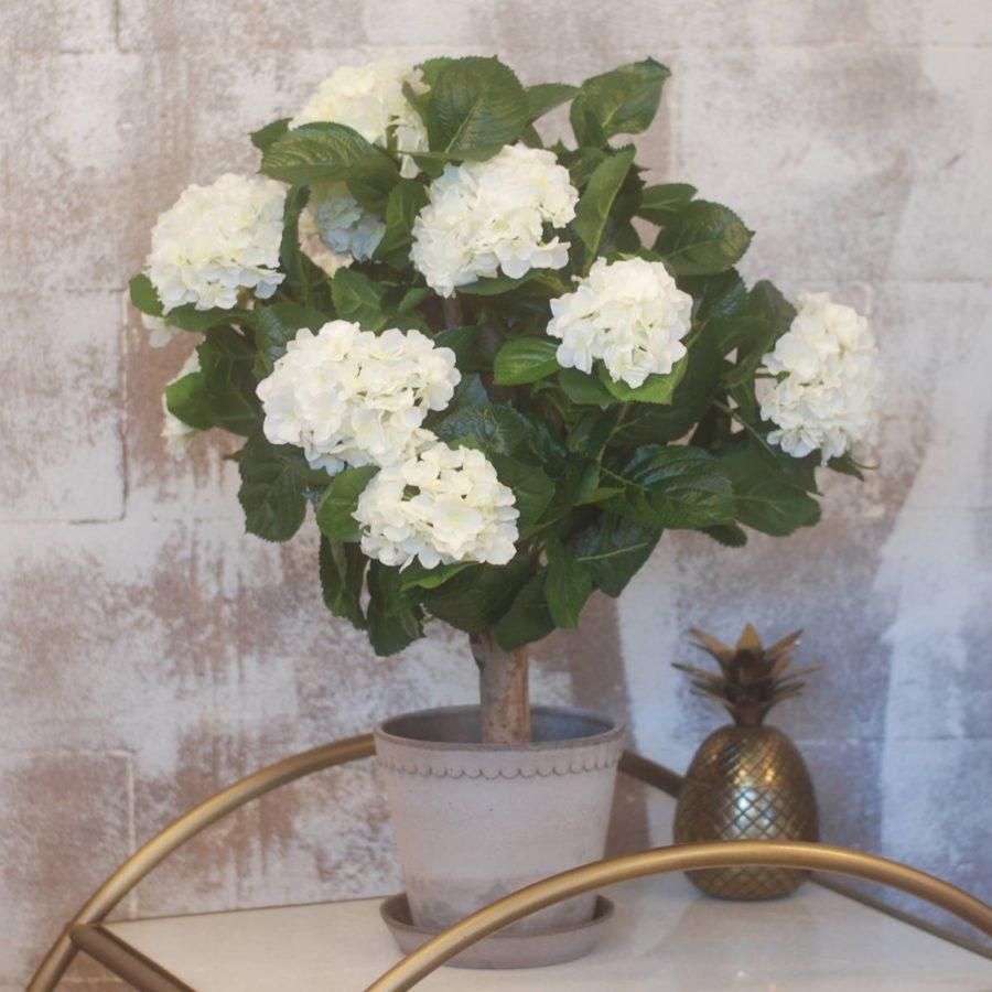Konstgjord Hortensia på stam vit