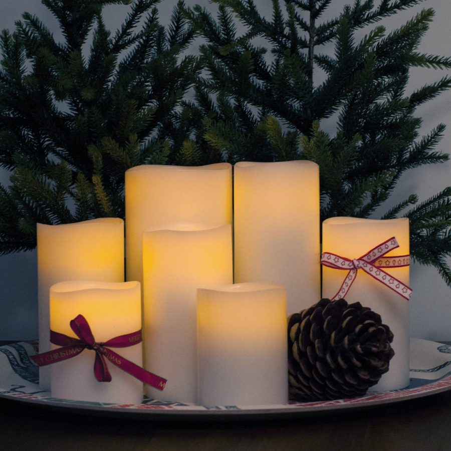 Enjoy Candles LED-ljus batteriljus vita ljusvax 8/20 cm