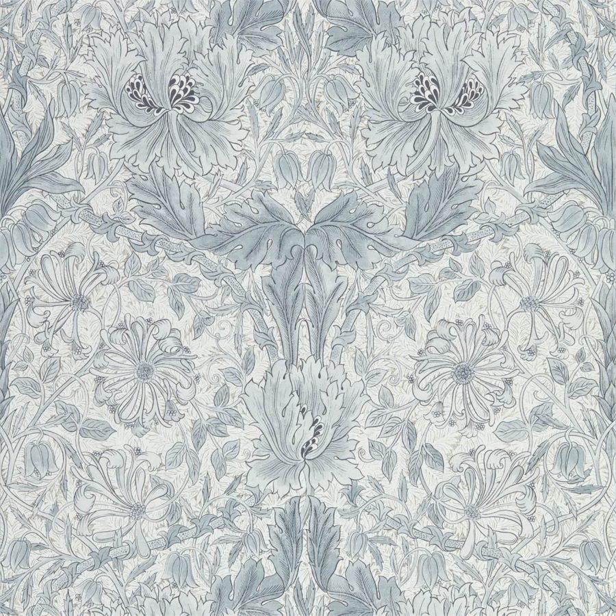 Morris & Co Tapet Pure Honeysuckle & Tulip Cloud Grey