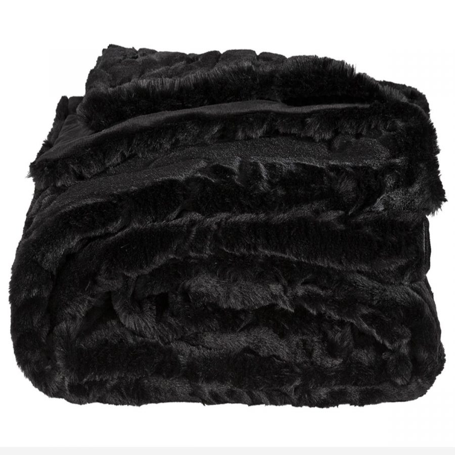 Artwood Överkast Pälspläd fuskpäls Mink svart