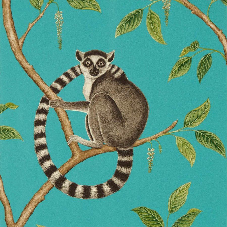 Sanderson Tapet Ringtailed Lemur Teal
