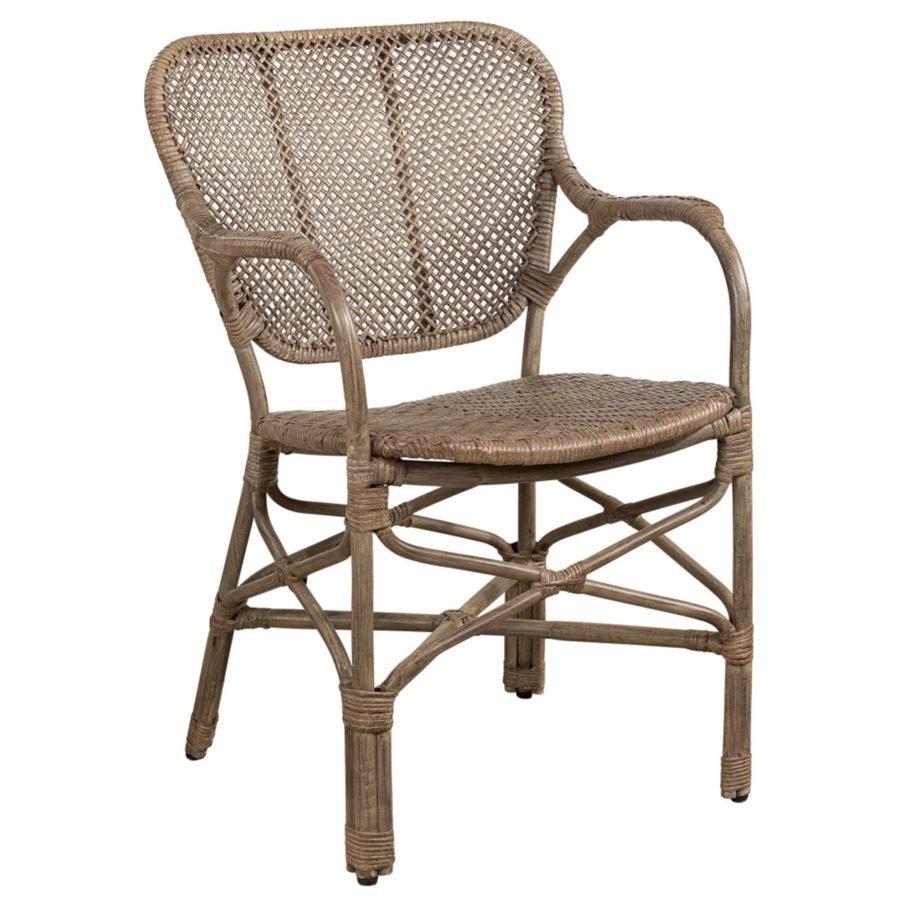 Artwood Rottingstol Matbordsstol Bistro antique gråbrun