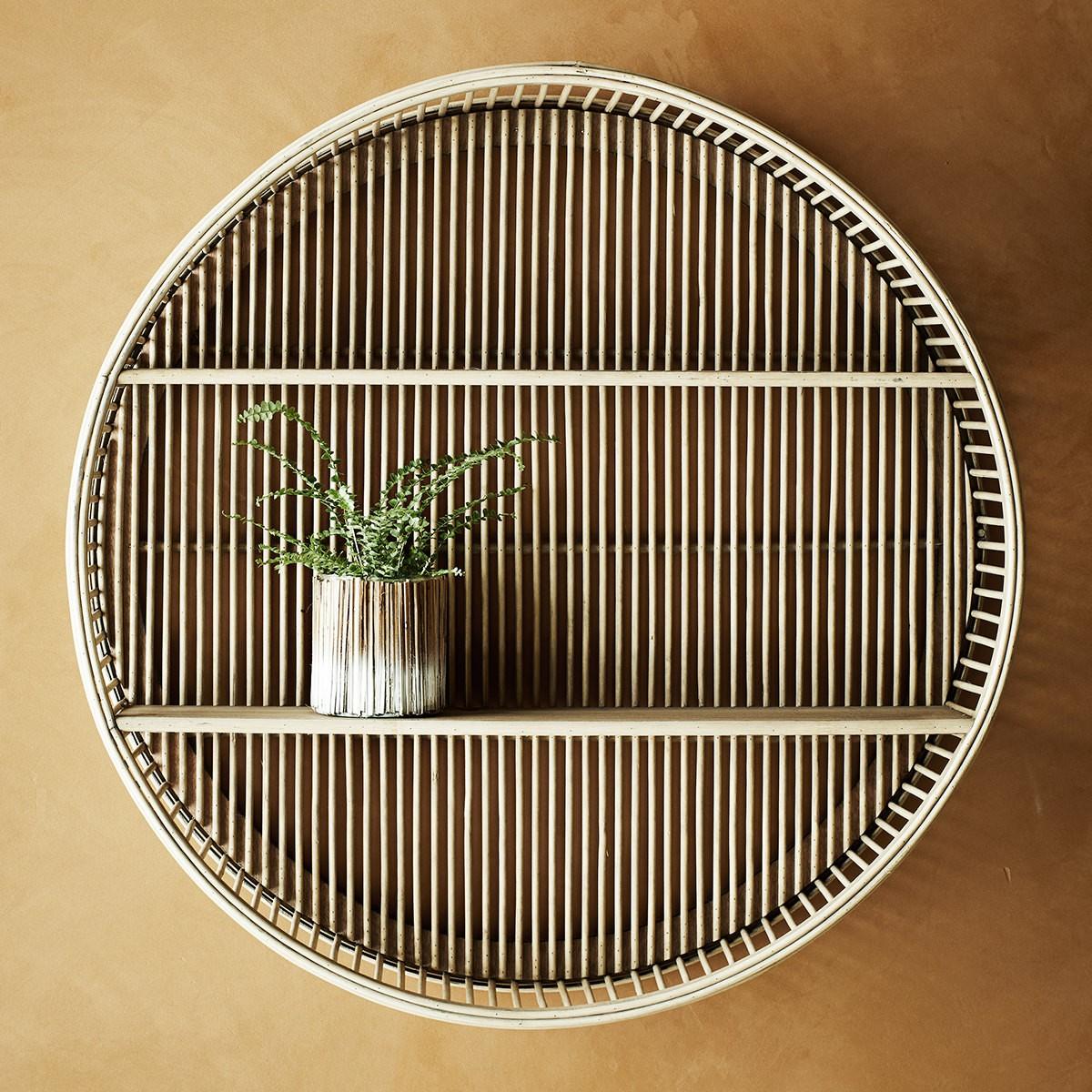 Madam Stoltz rund vägghylla bambu