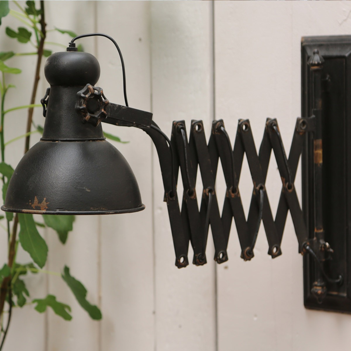 Vägglampa Factory utdragbar arm vintage fransk lantstil