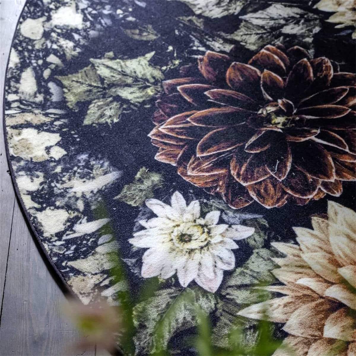 Designers Guild Rund Blommig Matta Dalia Noir