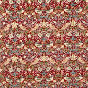 William Morris Tyg Strawberry Thief Crimson / Slate Sammet