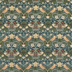 William Morris Tyg Strawberry Thief Indigo / Thyme Sammet