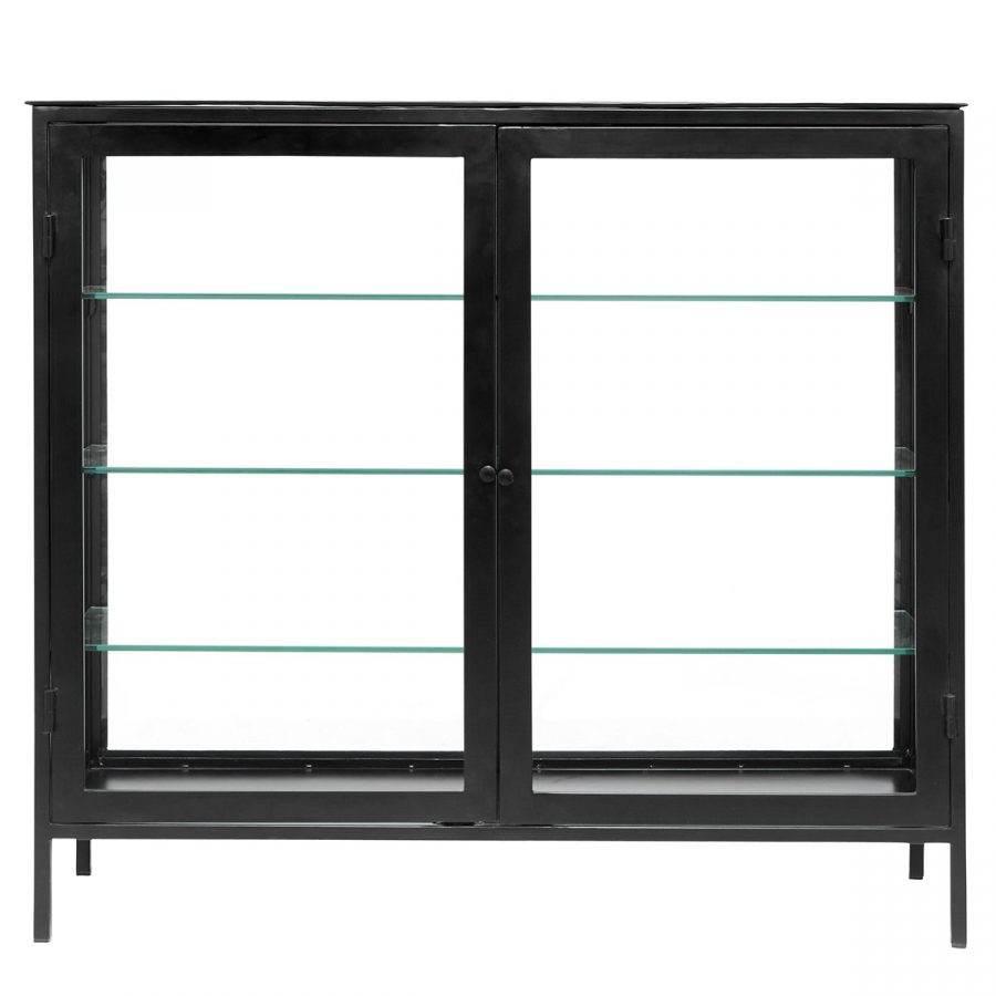 Nordal Golvskåp Buffet Mondo glas svart Metall