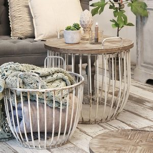 Satsbord trä metall vitt fransk lantstil