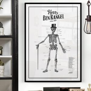 Grafstad Designbyrå Poster Herr Ben Rangel skelett vit