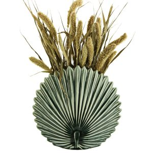 Madam Stoltz Keramik Vas Leaf Mustard lövformad vas