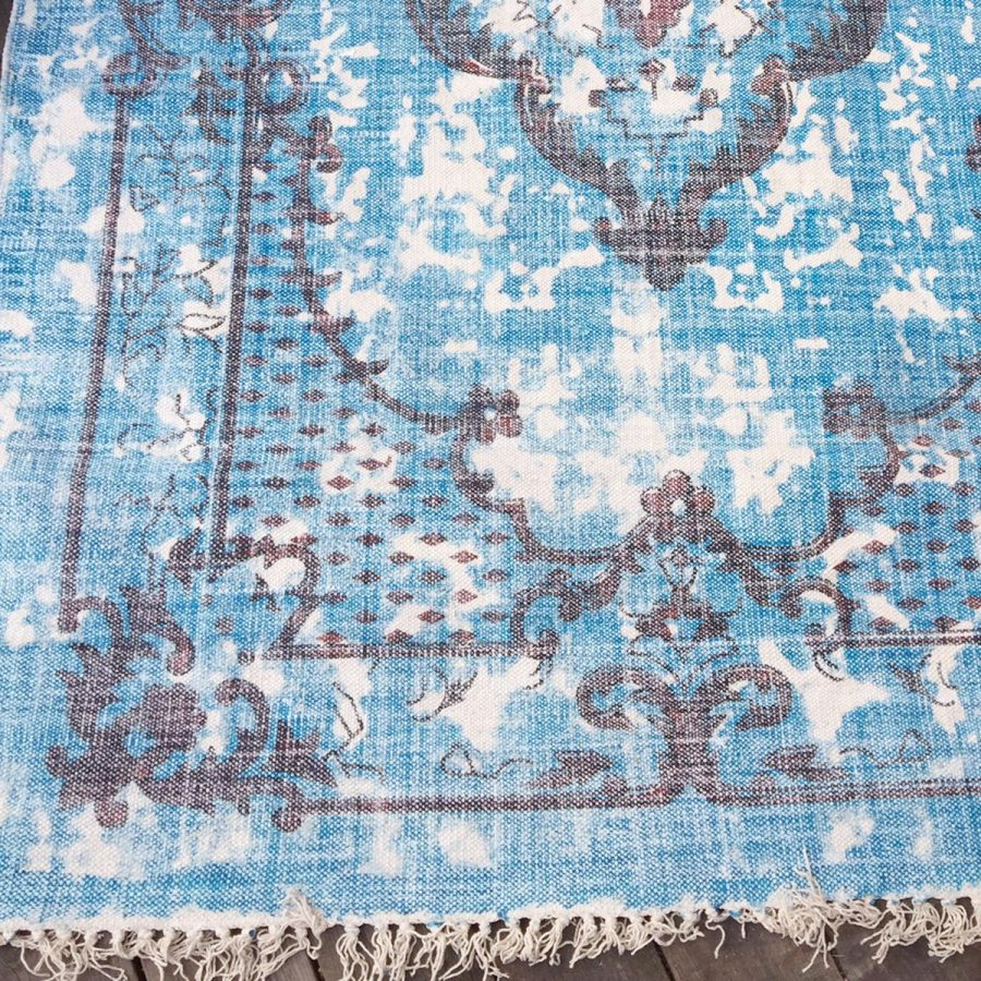 Matta mönstrad turkos 'Azur' bomulssmatta vintagestil