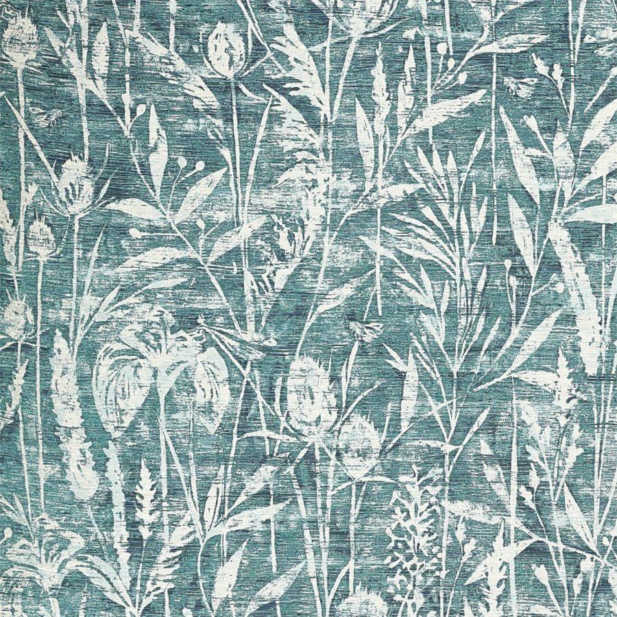 Sanderson Tyg Violet Grasses Cobalt botaniskt tyg