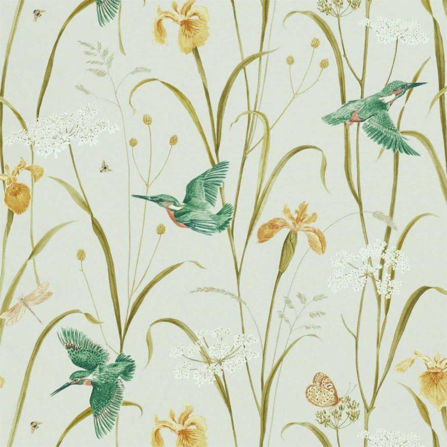 Sanderson Tyg Violet Kingfisher Iris teal amber botaniskt tyg