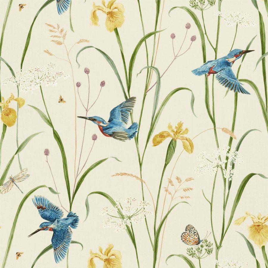Sanderson Tyg Violet Kingfisher Iris azure linen botaniskt tyg