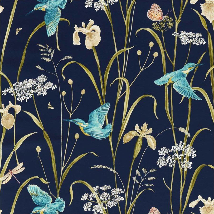 Sanderson Tyg Violet Kingfisher Iris navy teal botaniskt tyg