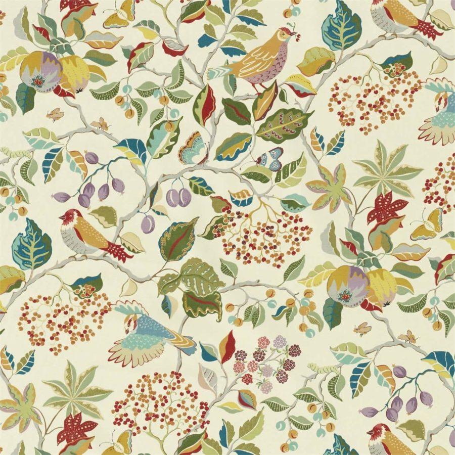 Sanderson Tyg Birds and Berries Rowan Berry
