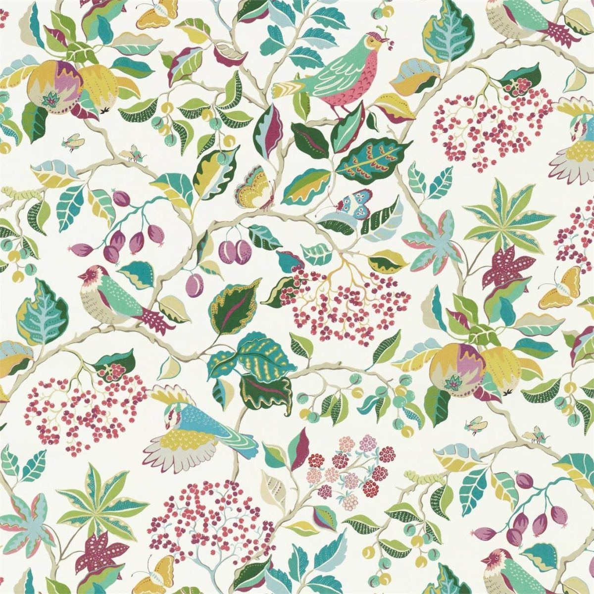 Sanderson Tyg Birds and Berries Fern