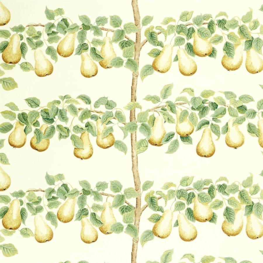 Sanderson Tyg Perry Pears Ochre Leaf Green