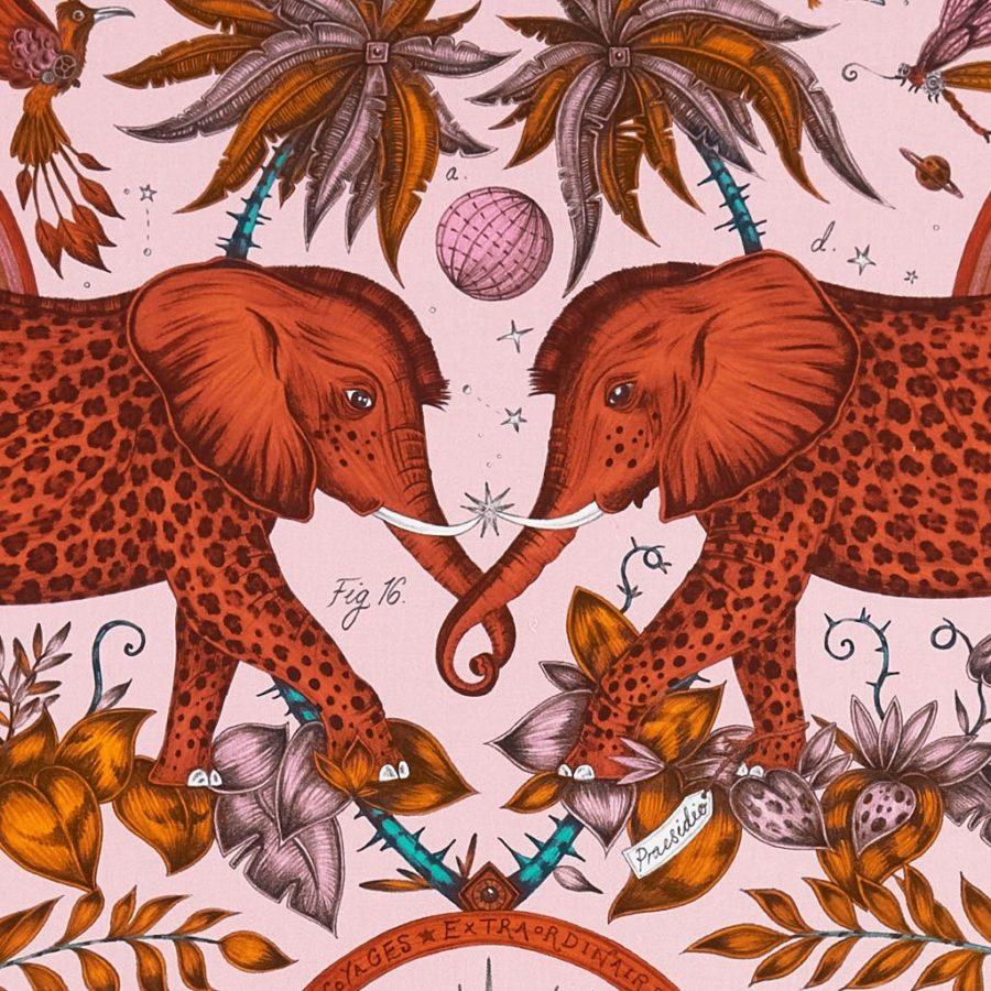 Emma J Shipley Tyg Zambezi Blush rosa elefanter bomull