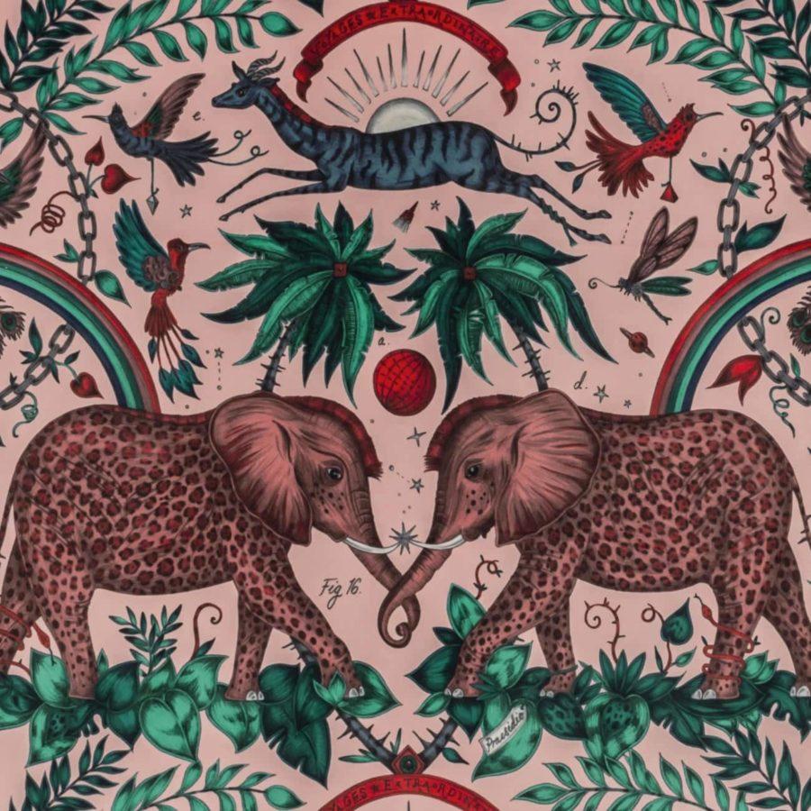 Emma J Shipley Tyg Zambezi Pink Sammet rosa elefanter sammet