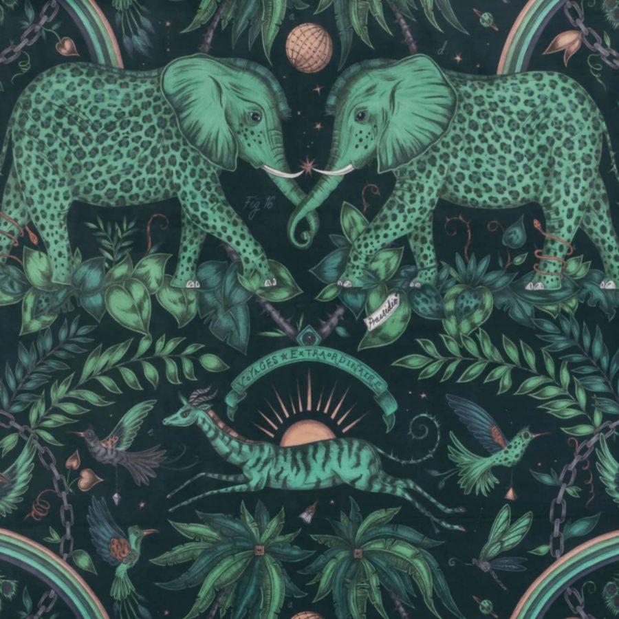 Emma J Shipley Tyg Zambezi Teal Sammet grönt blått