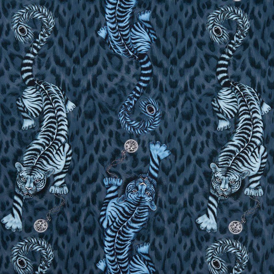 Emma J Shipley Tyg Tigris Navy mörkblå bomullssatäng