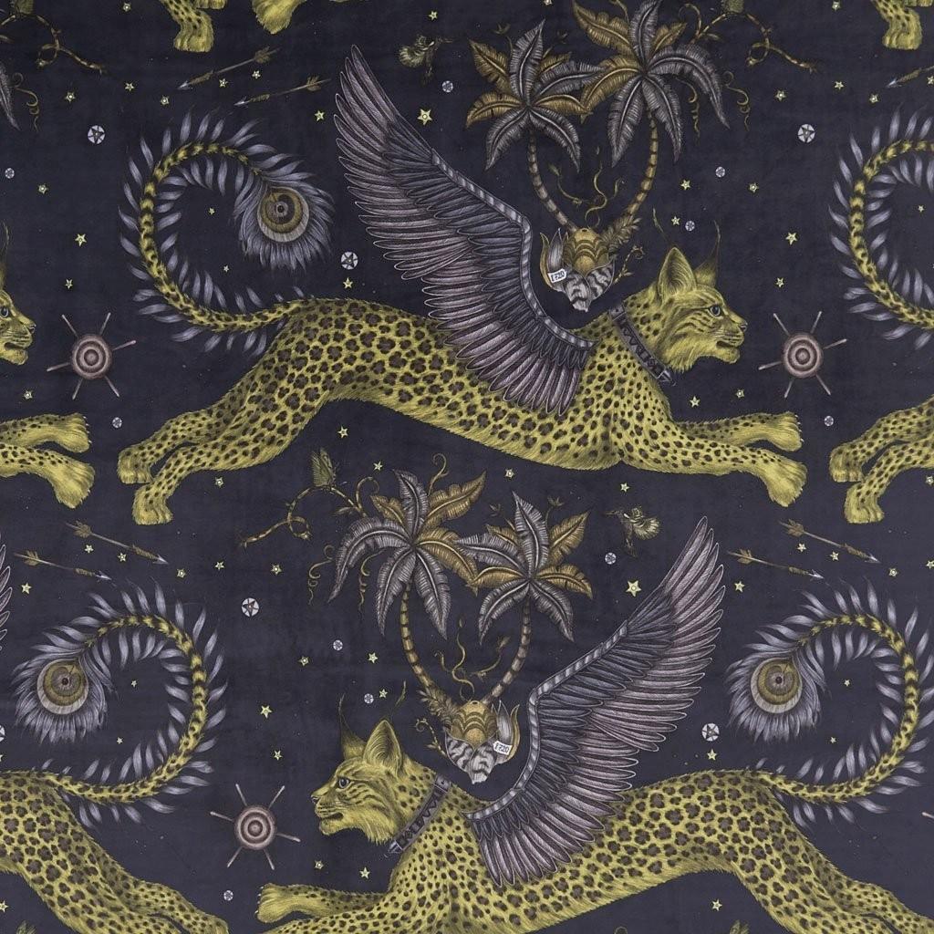 Emma J Shipley Tyg Lynx Charcoal Sammet