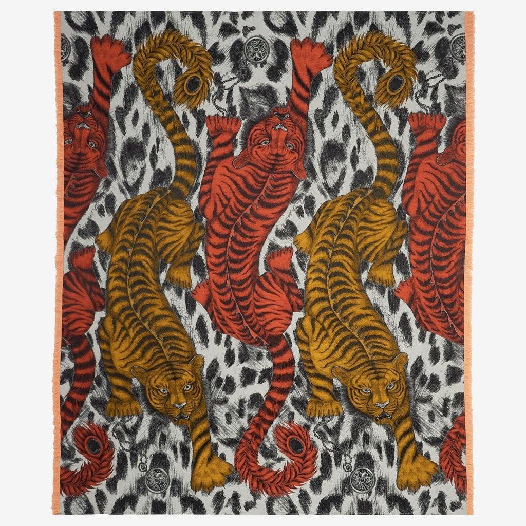 Emma J Shipley Pläd Throw Tigris Flame orange Tigrar