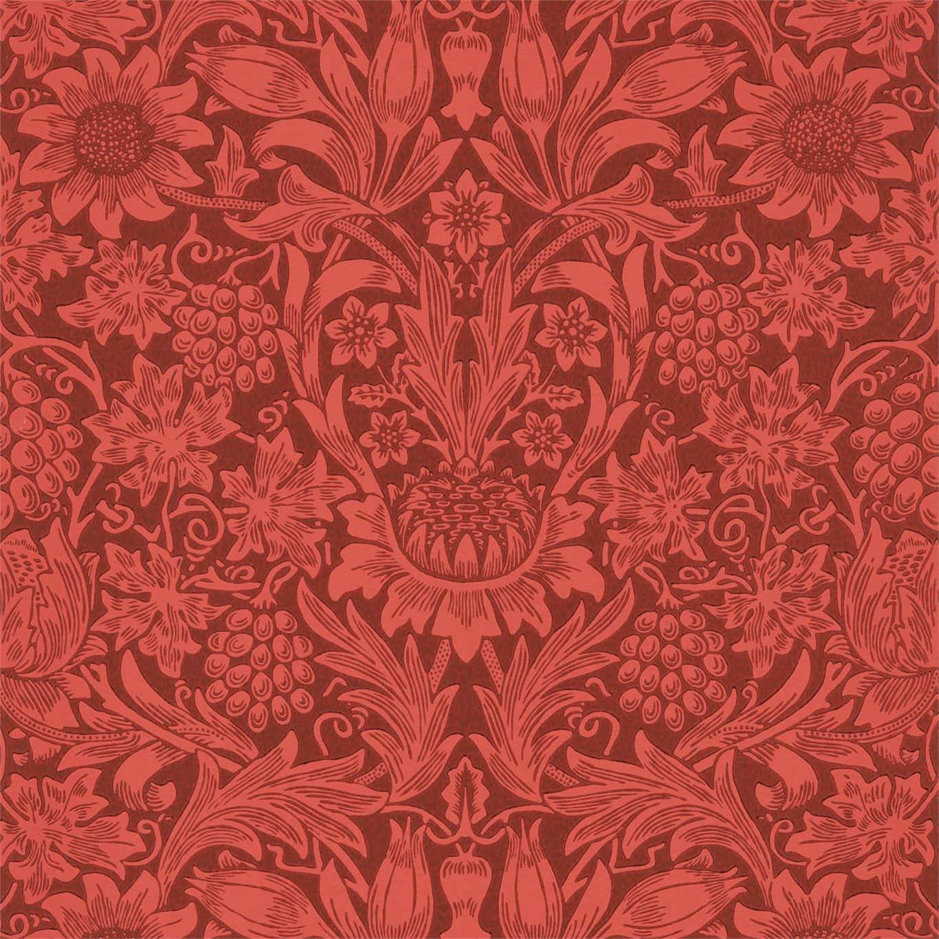 William Morris & Co Tapet Sunflower Chocolate red
