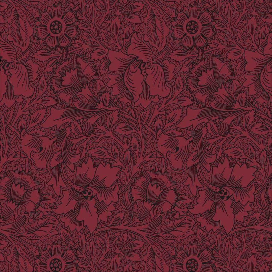 William Morris Tapet Poppy Claret burgundy tapet