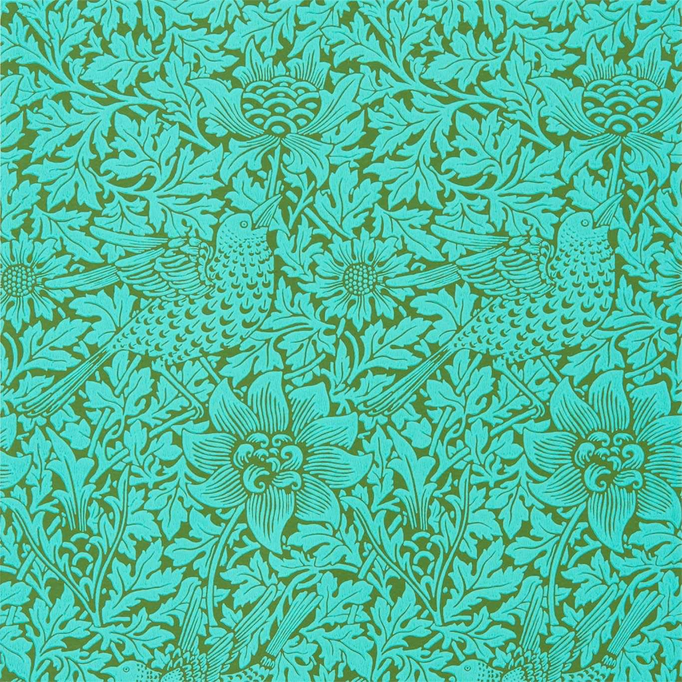 Morris & Co Tapet Anemone Olive Turquoise